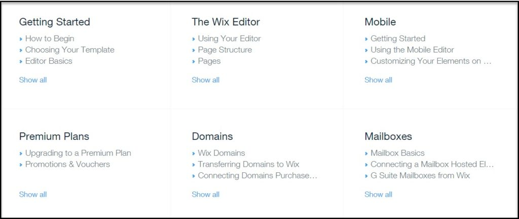 Wix Categories